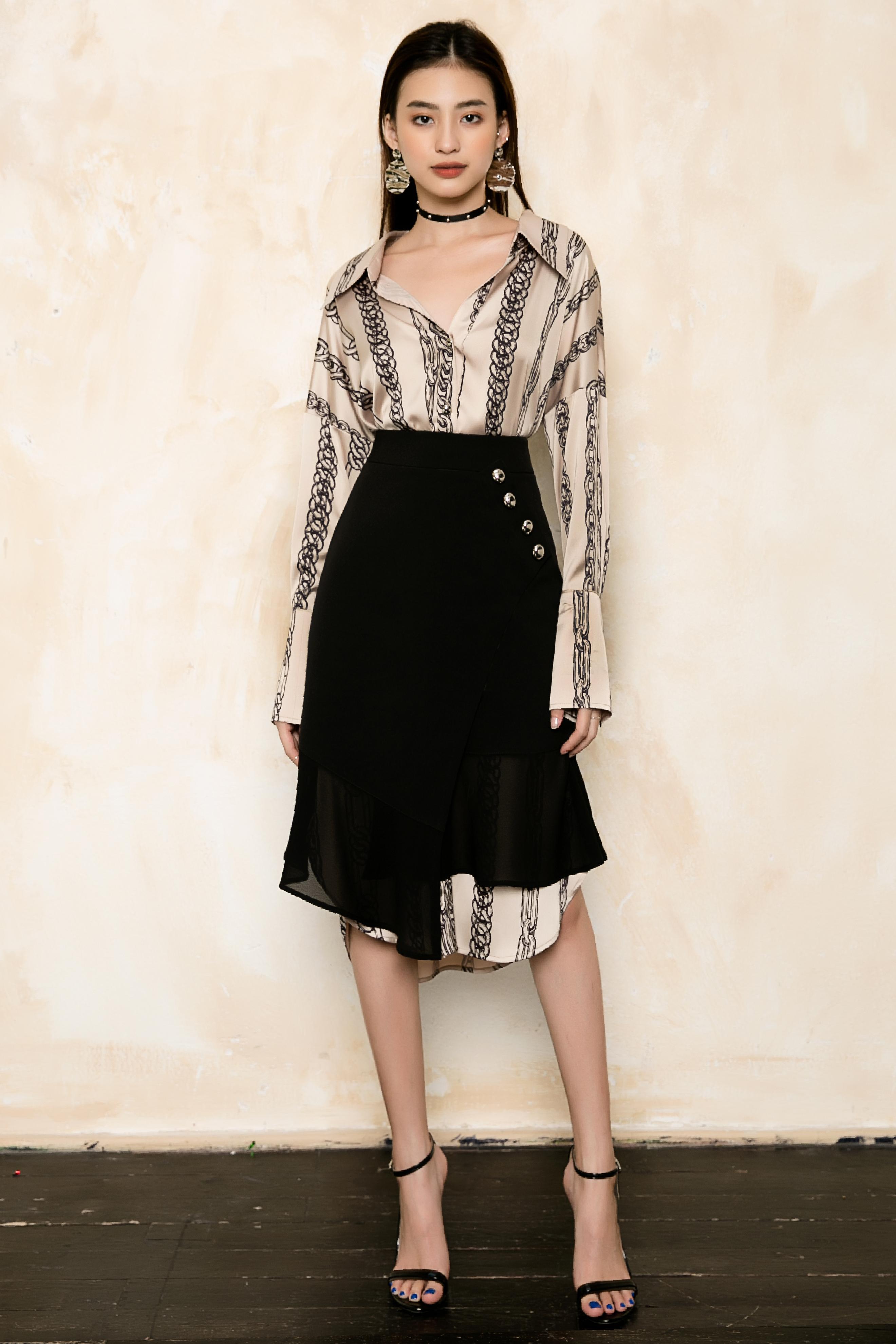 V753 - Váy đầm lụa suông thắt lưng eo thiết kế xích in - Be, Hồng - Bely