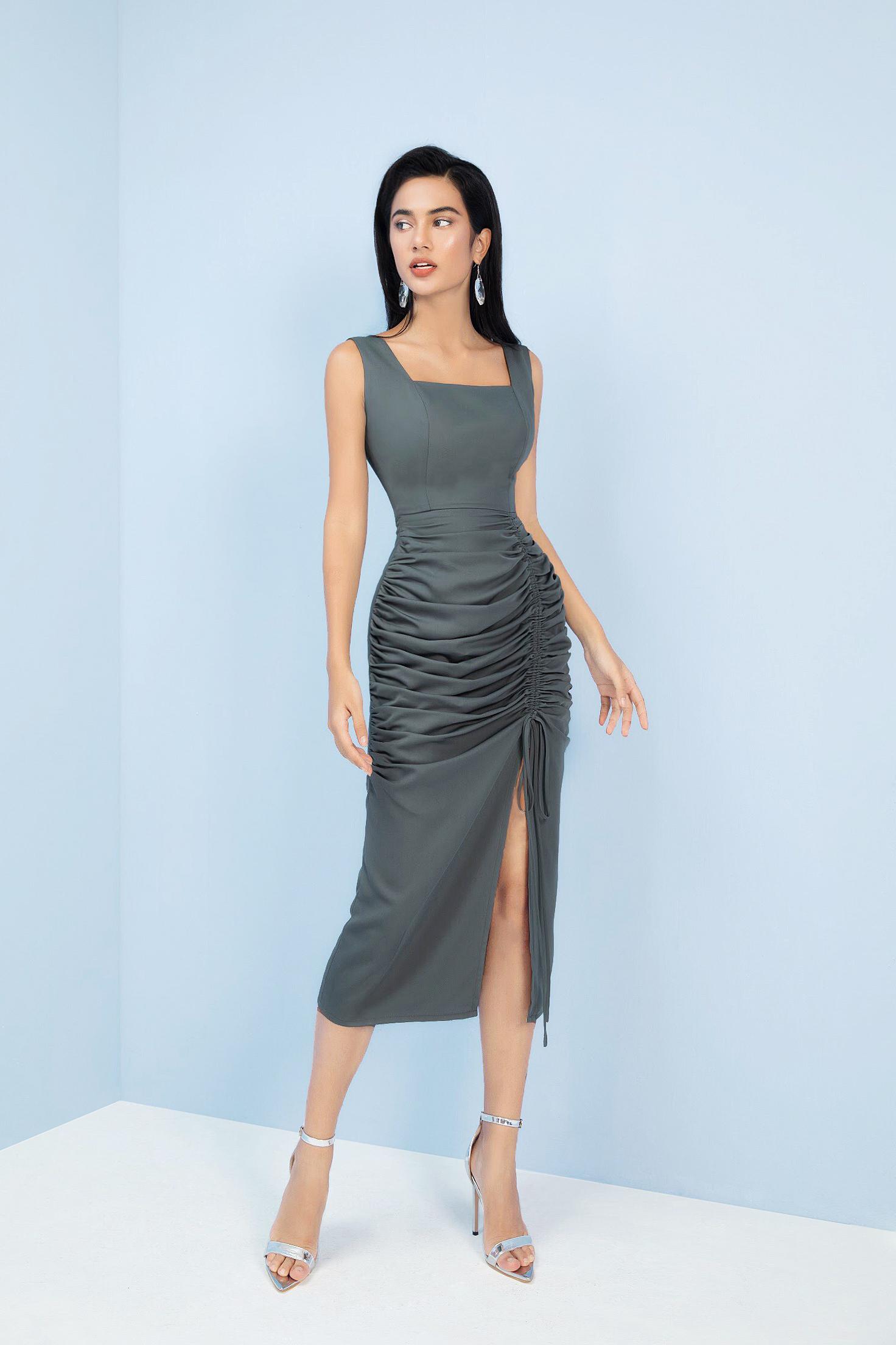 V760 - Váy đầm ôm bút chì xẻ đùi thiết kế rút dây - Cam, Ghi đậm - Bely