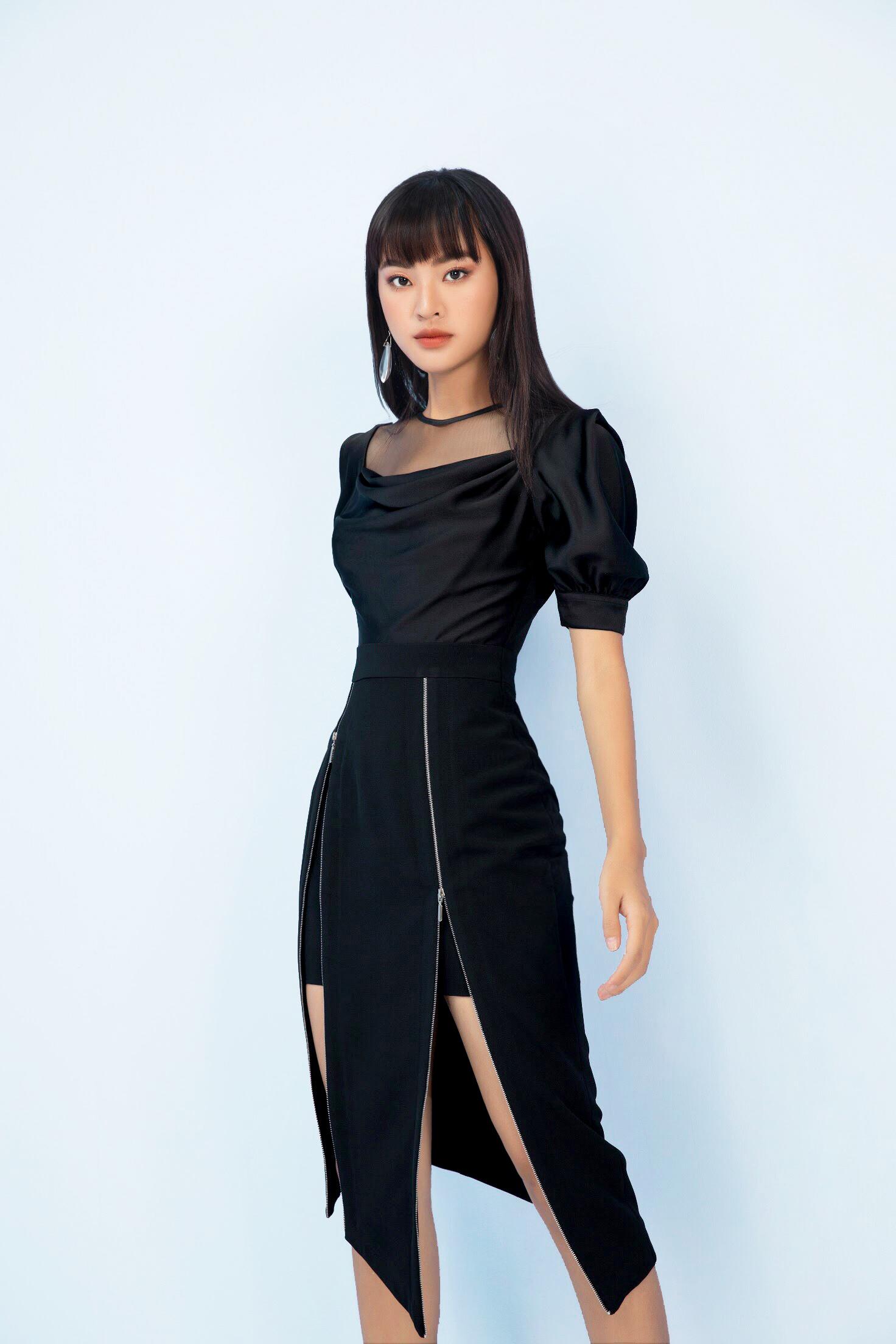 V782 - Váy đầm bút chì cổ đổ pha lưới hai khóa thiết kế tay bồng - Đen, Ghi sáng - Bely