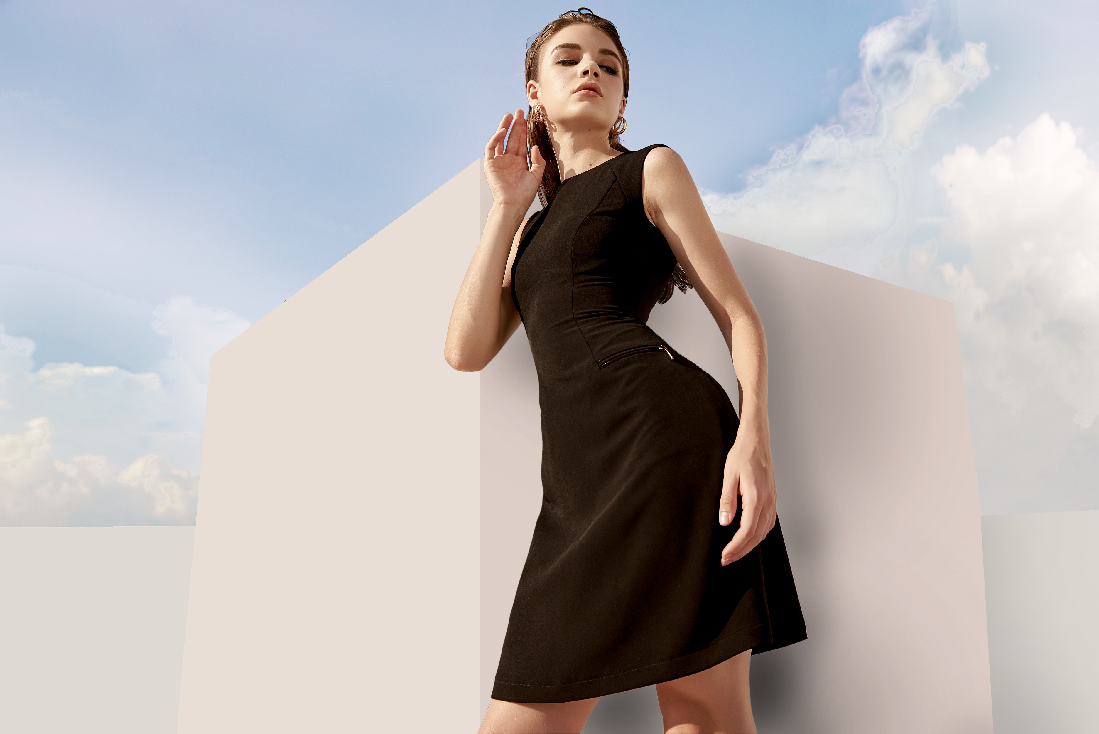 V817 - Váy đầm ôm A dáng ngắn thiết kế khóa túi - Đen, Pink coral - Bely