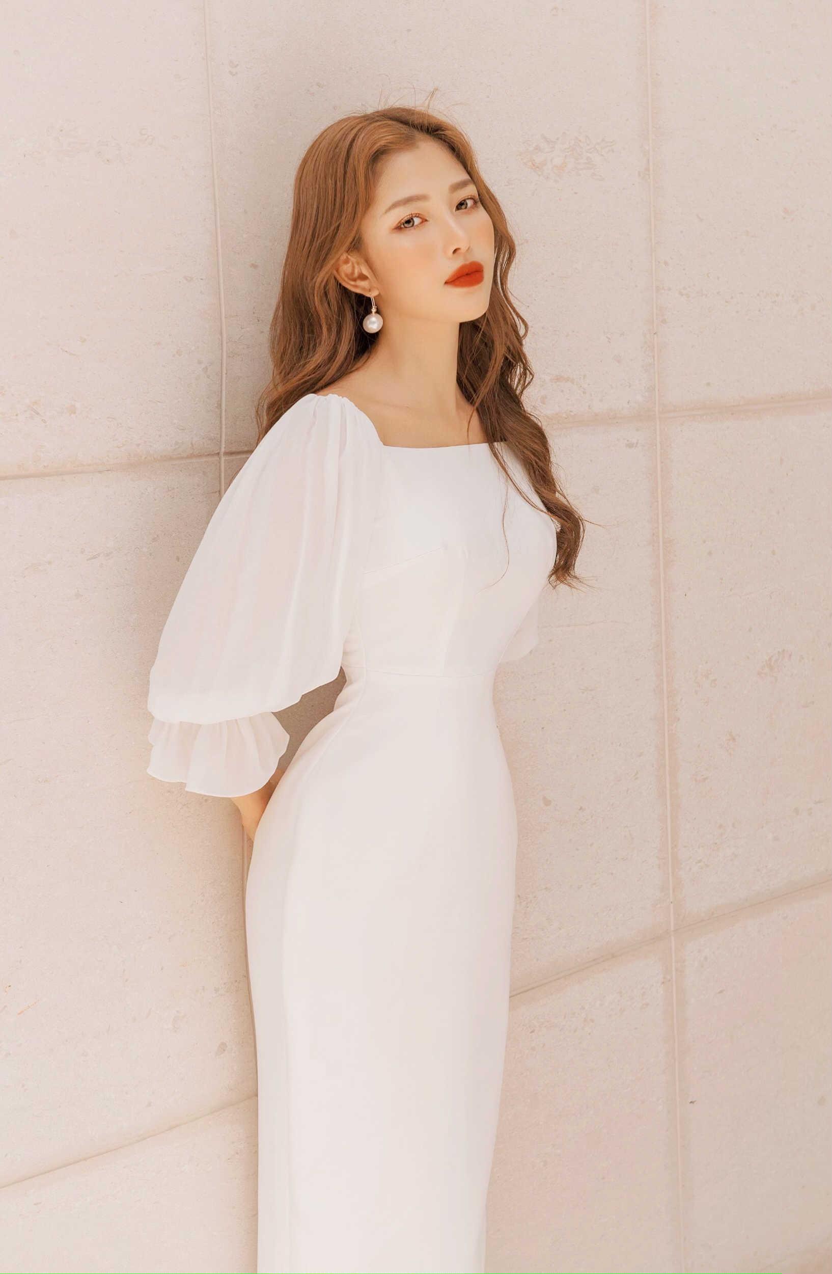 V752 - Váy đầm quý cô bút chì dài thiết kế tay voan bồng - Trắng, Hồng vỏ đỗ - Bely