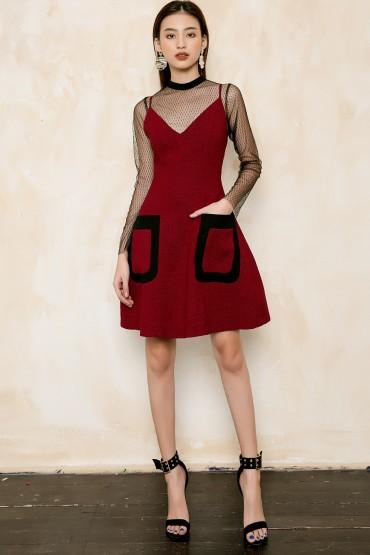 V726 - Váyđầm ôm A 2 dây thiết kế hai túi ốp viền bọc - Đỏ, Ghi sáng - Bely