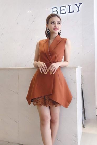 CV706 - Chân váy ren dáng sun A- Trắng, Da Bò - Bely