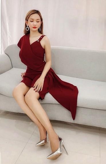 CV731 - Chân váy dáng A ngắn thiết kế vạt lệch - Đỏ mận, Xanh ghi - Bely