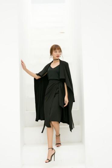 CV724 - Chân váy bút chì thiết kế buộc hông - Đen, Nude - Bely