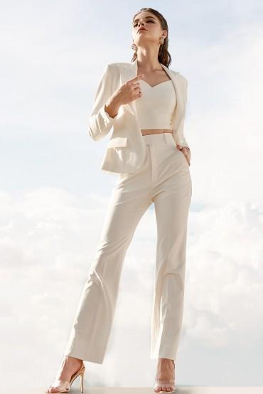 Q798 - Quần đứng vẩy cạp cao thiết kế hai túi chéo - Cam nude, Đen, Trắng - Bely