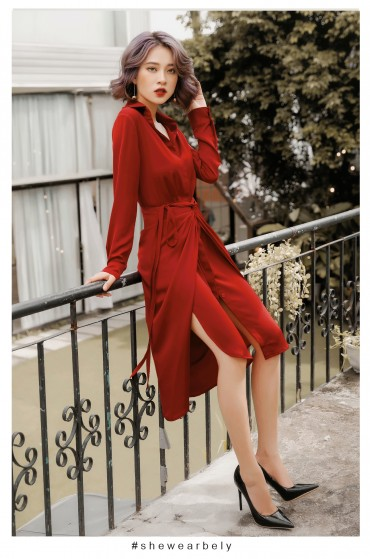 V203 - Váyđầm ôm bút chì cổ đức thiết kế buộc eo tạo kiểu - Đen, Đỏ, Trắng - Bely