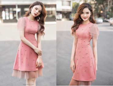 V750 - Váy đầm ôm A đinh tán thiết kế pha lưới 3 tầng - Đen, Hồng pastel - Bely
