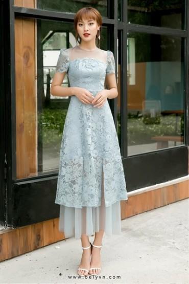 V600 - Váy đầm ren 7 mảnh thiết kế pha lưới - Đen, Xanh ghi - Bely