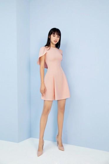 V761 - Váy đầm 7 mảnh xòe silk lạnh thiết kế choàng vai - Xanh mint, Hồng pastel - Bely