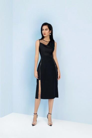 V781 - Váy đầm ôm A cổ đổ pha lụa thiết kế 2 khóa dọc sườn - Đen, Ghi Sáng - Bely