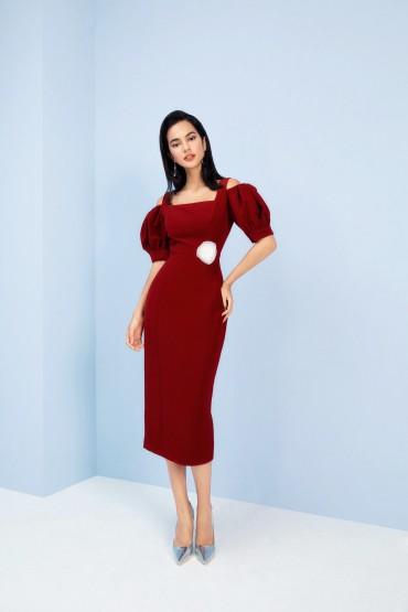 V783 - Váy đầm bút chì cổ vuông thiết kế trễ vai cài hoa eo - Green pastel, Đỏ đô - Bely
