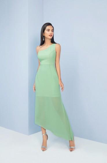 V773 - Váy đầm đuôi cá voan tơ lệch vai thiết kế khăn choàng tạo kiểu - Xanh mint, Đen - Bely