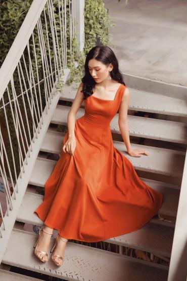 V759 - Váy đầm midi quý cô thiết kế 7 mảnh xòe - Cam, Ghi đậm - Bely