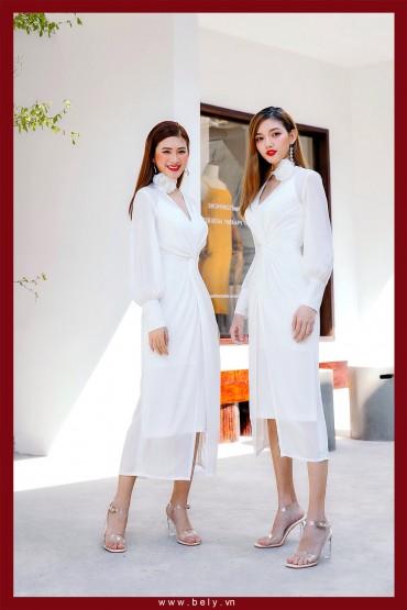 V762 - Váy đầm voan tơ tay dài măng sét thiết kế xoáy eo - Trắng, Hồng vỏ đỗ - Bely