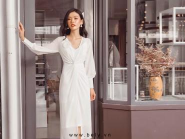 V784 - Váy đầm 2 dây silk lạnh thiết kế xẻ sườn - Trắng, Hồng vỏ đỗ - Bely