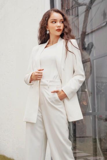 VS703 - Áo vest suông cổ 2ve thiết kế 2 hàng khuy - Trắng, Đen - Bely