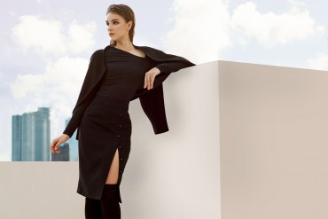 VS814 - Áo vest lửng vai chờm hai túi khóa thiết kế cổ nữ hoàng - Pink coral, Đen - Bely