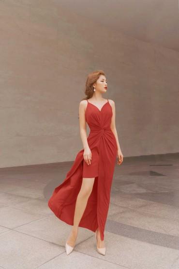 V758 - Váy đầm bút chì dài quý cô thiết kế hai dây xoáy eo - Vàng mơ, Cam đào - Bely