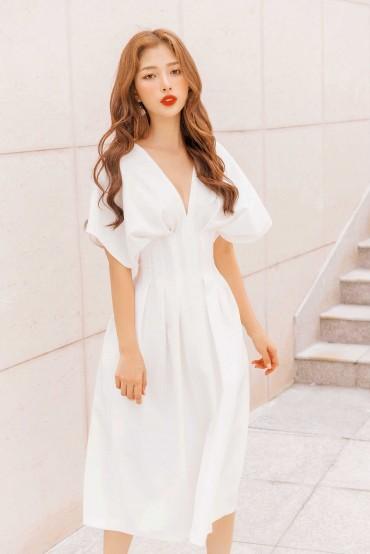 V606 - Váy đầm chiết ly eo dáng dài cách điệu thiết kế 2 túi dọc sườn - Đen, Trắng - Bely