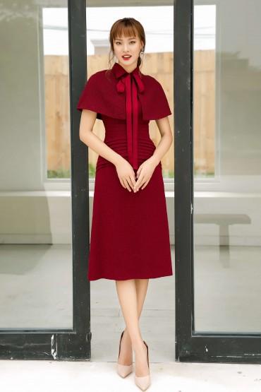 V738 - Váy đầm ôm A cổ đức dáng dài thiết kế choàng vai - Đỏ, Ghi sáng - Bely