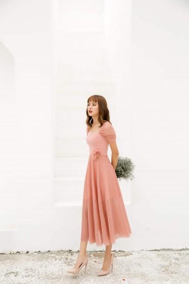 V713 - Váy đầm liền midi quý cô thiết kế trễ vai - Xanh cổ vịt, Hồng - Bely