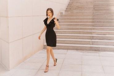 V567 - Váy đầm ôm A cổ nữ hoàng thiết kế trễ vai 3 trong 1 - Đen, Đỏ, Trắng - Bely