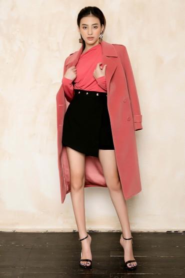 CV708 - Chân váy short đùi thiết kế đính eo nổi bật - Đen, Ghi - Bely