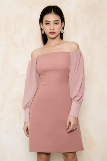 V746 - Váy đầm ôm A tiểu thư thiết kế tay dài pha voan - Đen, Hồng vỏ đỗ - Bely