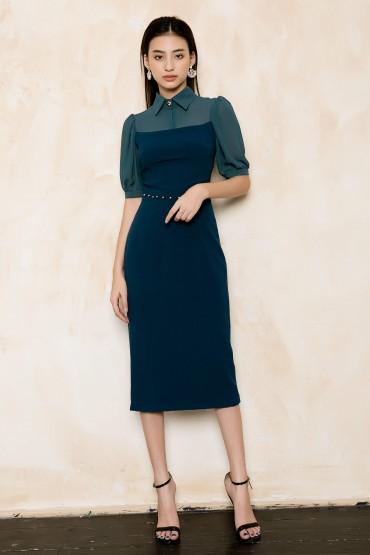 V747 - Váy đầm ôm bút chì cổ đức thiết kế pha voan cùng màu - Hồng, Xanh cổ vịt - Bely