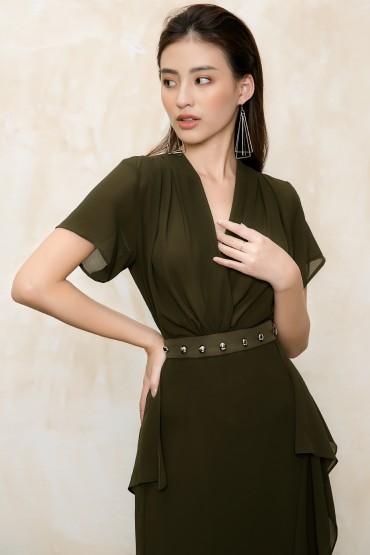 CV748 - Chân váy voan tơ dáng suông dài thiết kế tà 2 bên - Nude, Rêu - Bely