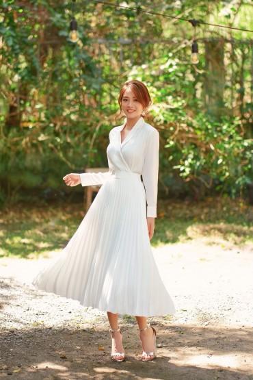 CV808 - Chân váy xòe dài thiết kế dập ly - Trắng - Bely