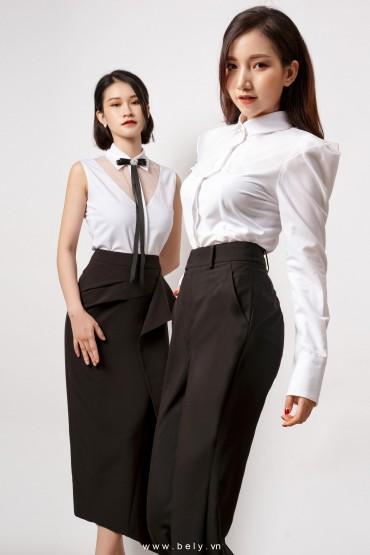 CV769 - Chân váy bút chì dài thiết kế xếp hông - Đen, Hồng đất - Bely