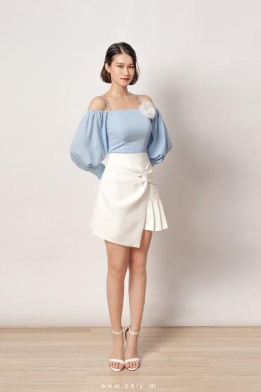 CV807 - Chân váy dáng A ngắn thiết kế nơ tạo kiểu - Đen, Trắng - Bely