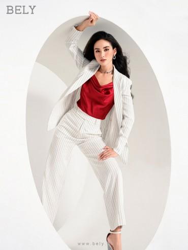 VS791 - Áo vest 1 lớp dáng eo thiết kế cổ liền vải kẻ sọc - Kẻ trắng, Kẻ ghi - Bely