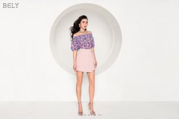 Q832 - Quần short giả váy thiết kế đắp tà, đục ô rê lệch hông - Đỏ, Hồng Pastel - Bely