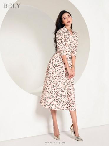 V847 - Váy đầm 7 mảnh xòe, cổ 2 ve thiết kế tay lỡ phồng - Đỏ đô, In hoa nhí - Bely