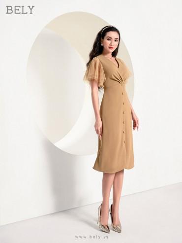 V831 - Váy đầm ôm A xoáy chân ngực thiết kế tay loa lưới - Nude, Xanh cô ban - Bely