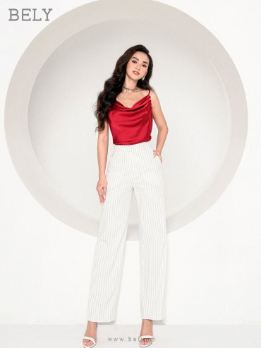 Q823 - Quần âu thiết kế dáng suông đứng cạp cao vải kẻ sọc - Kẻ trắng, Kẻ ghi - Bely