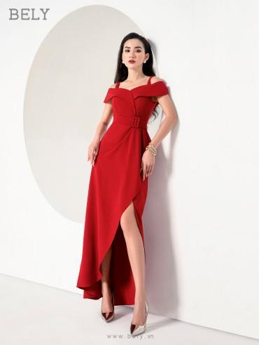 V830 - Váy đầm dạ tiệc đuôi cá thiết kế xếp hồng trễ vai - Đỏ, Trắng - Bely