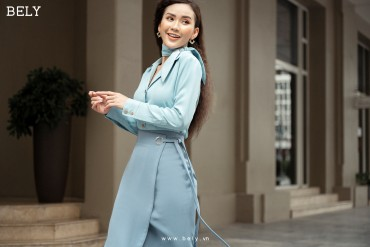 SM835 - Áo sơ mi lụa thiết kế cổ 2 ve đức, tay dài măng sét, nơ cổ phối rời - Blue pastel, Hồng pastel - Bely