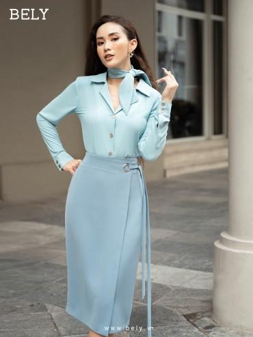 CV844 - Chân váy bút chì dáng dài thiết kế thiết kế đắp tà, đục ô rê lệch hông - Blue pastel, Trắng - Bely