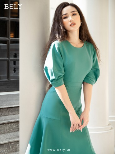 V811 - Váy đầm đuôi cá cao cấp thiết kế tay phồng tạo khối - Xanh mint, Hồng sen, Đỏ - Bely