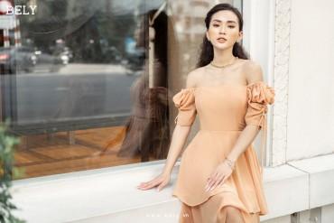 V849 - Váy đầm xòe 2 tầng thiết kế tay bồng rút dây - Nude, In hoa tím - Bely