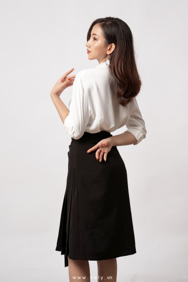 CV810 - Chân váy dáng A dài thiết kế nơ tạo kiểu - Đen, Trắng - Bely