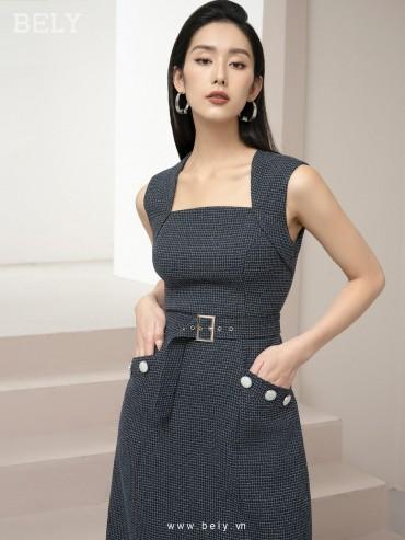 V865 - Váy đầm thiết kế cổ U xòe dáng A kết hợp đai rời - Navy, Ghi sáng - Bely