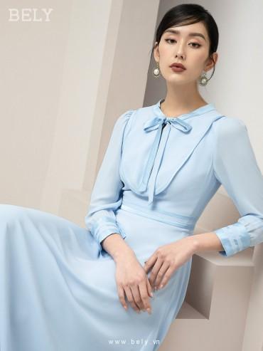V857 - Váy đầm tiểu thư thanh lịch thiết kế xòe a dáng dài - Xanh dương , Da bò - Bely