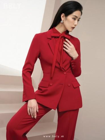 VS864 - Aó vest eo thiết kế 2 hàng khuy , tay lật - Đỏ , Hồng - Bely