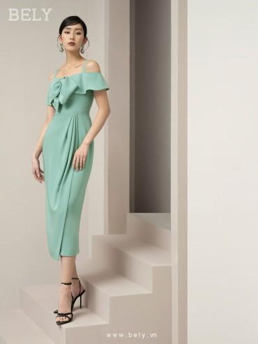 V868 - Váy đầm thiết kế trễ vai dáng đứng xếp ly hông nhấn eo cao cấp - Hồng cánh sen , Xanh mint - Bely