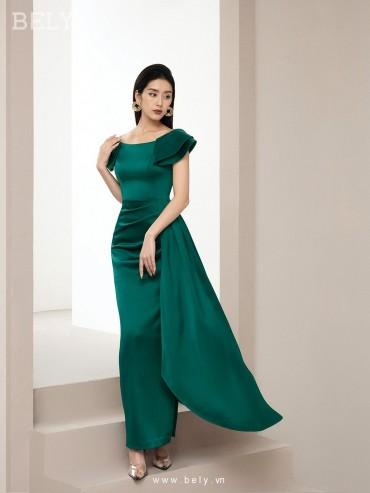 V877- Váy đầm dạ tiệc ôm bút chì thiết kế bất đối xứng trễ vai - Xanh két, Hồng sáng - Bely